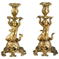 Pair of French Gilt Bronze Table Candlesticks, circa 1875