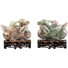 Pair of Chinese Amethyst and Green Quartz Ducks on Stands, 19th Century