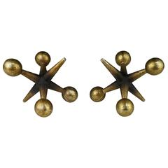 Pair of Finely Patinated Brass Jacks Bookends After Billy Curry, 1960s