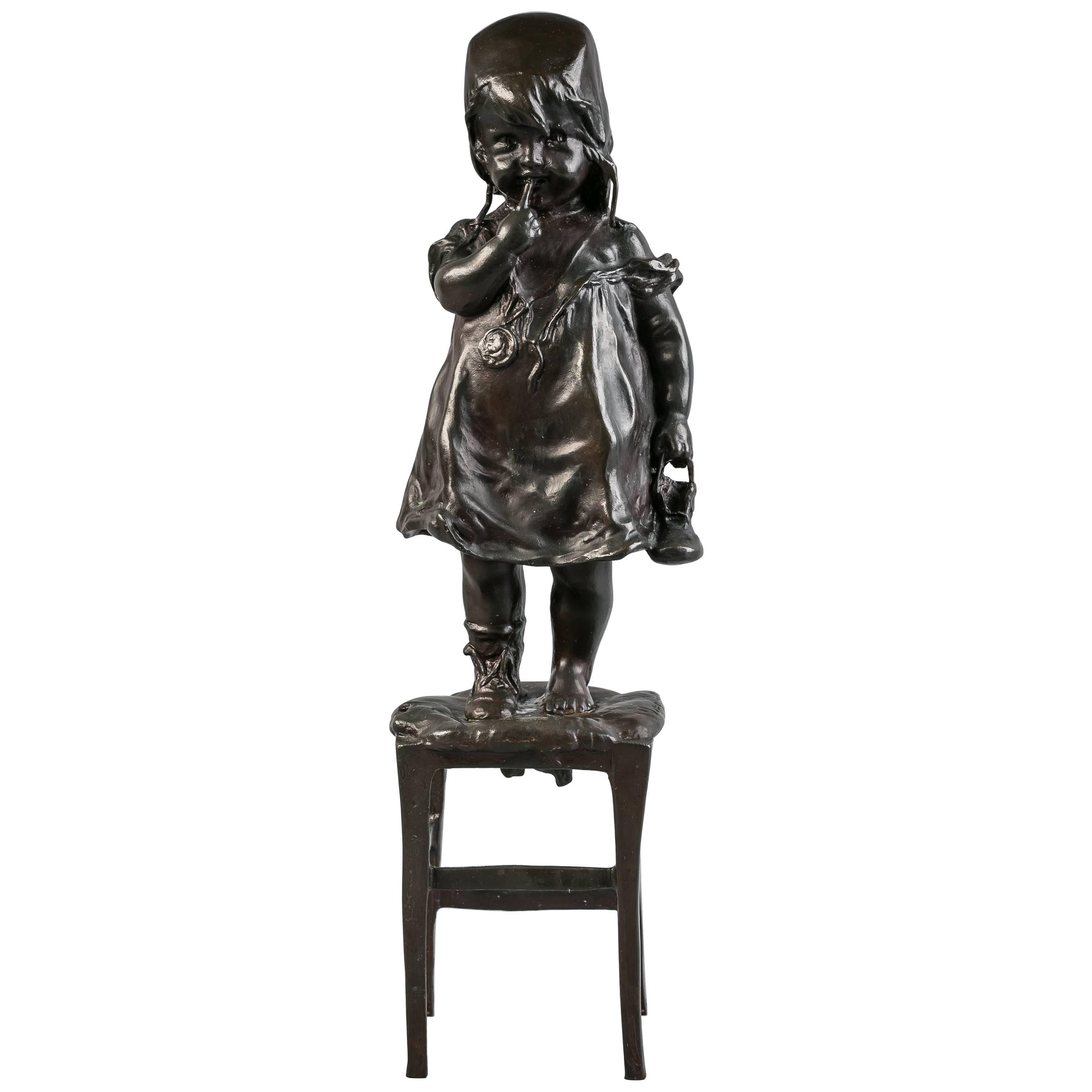 Bronze Figure of a Girl on a Stool, circa 1920