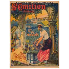 Original Antique French Travel Poster for St Emilion Wine Region by Hazeryon