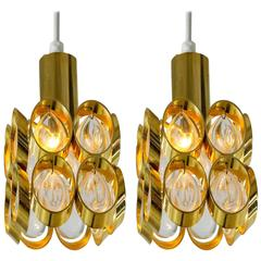 Pair of Brass and Glass Pendants, Austria, 1950s-1960s