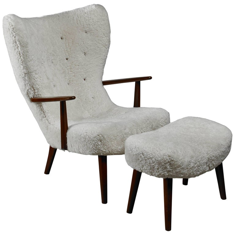 Madsen and Schubell 'Pragh' Lounge Chair with Ottoman, Denmark, 1950s
