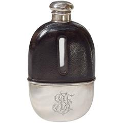 Sterling and Leather Thomas Jenkins of London Flask