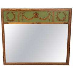 Elegant French Giltwood and Green Painted Trumeau Mirror