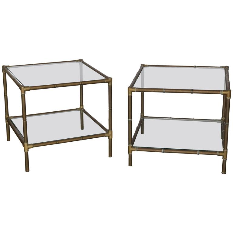 Mid Century Modern Argentinian Pair Of Faux Bamboo Bronze And Glass Side Tables For