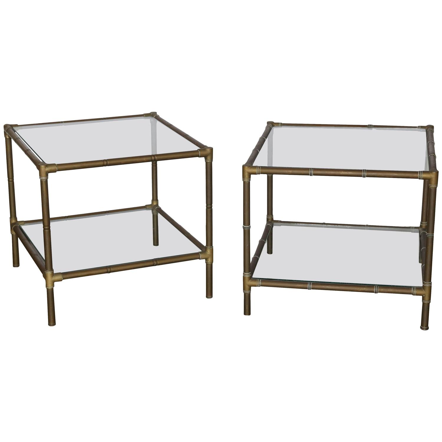 Pair Of Faux Bamboo Brass And Glass Side Tables For Sale