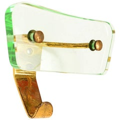 Stunning Glass and Brass Single Coatrack by Fontana Arte, Italy, 1950s
