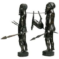 Vintage Pair of African Ebonized Carved Hunters