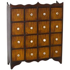 Small Walnut and Tiger Maple Chest of 16 Drawers