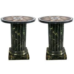 Round Marble Topped Side Tables