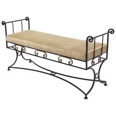 Wrought Iron Fine Ornate Design Hollywood Regency Window Bench New Upholstery