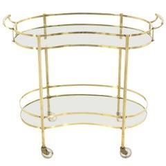 Solid Brass Kidney Shape Two-Tier Rolling Cart