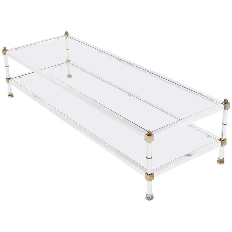 Chrome Brass Glass Top Large Rectangular Coffee Table For Sale
