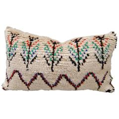 Custom Pillow Cut from a Vintage Hand-Loomed Wool Moroccan Azilal Rug