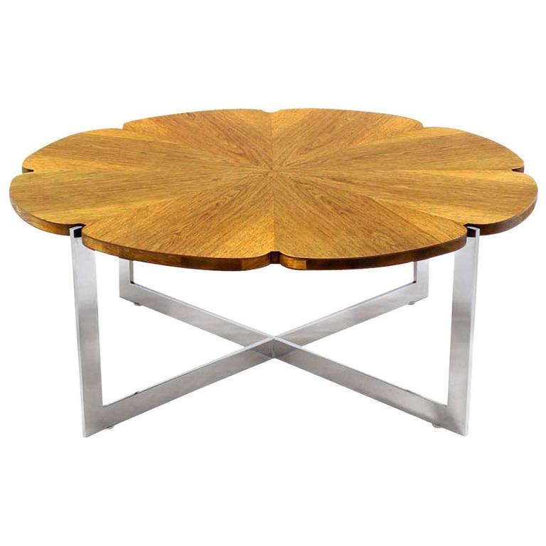 Daisy Shape Round Walnut Top Chrome X Base Coffee Table For Sale