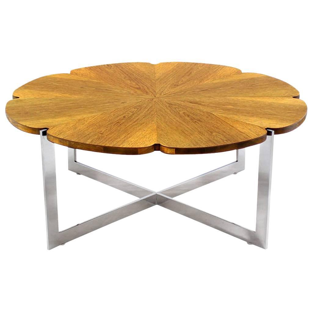 daisy shape top chrome x base coffee table for sale at 1stdibs. Black Bedroom Furniture Sets. Home Design Ideas