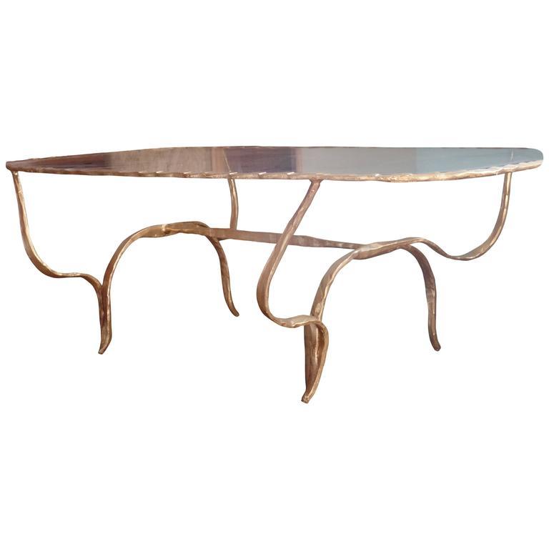 Rare Italian Mid-Century Modern Gilt Hammered Iron Coffee Table, Giovanni Banci For Sale
