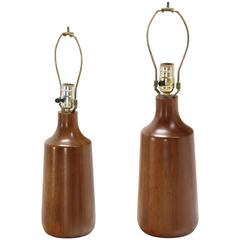 Pair of Heavy Turned Teak Bases Tables Lamps