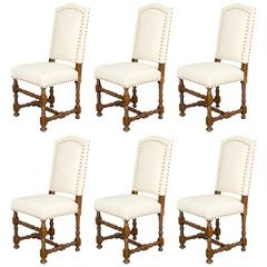 Set of Six French Louis XIII Style Dining Chairs