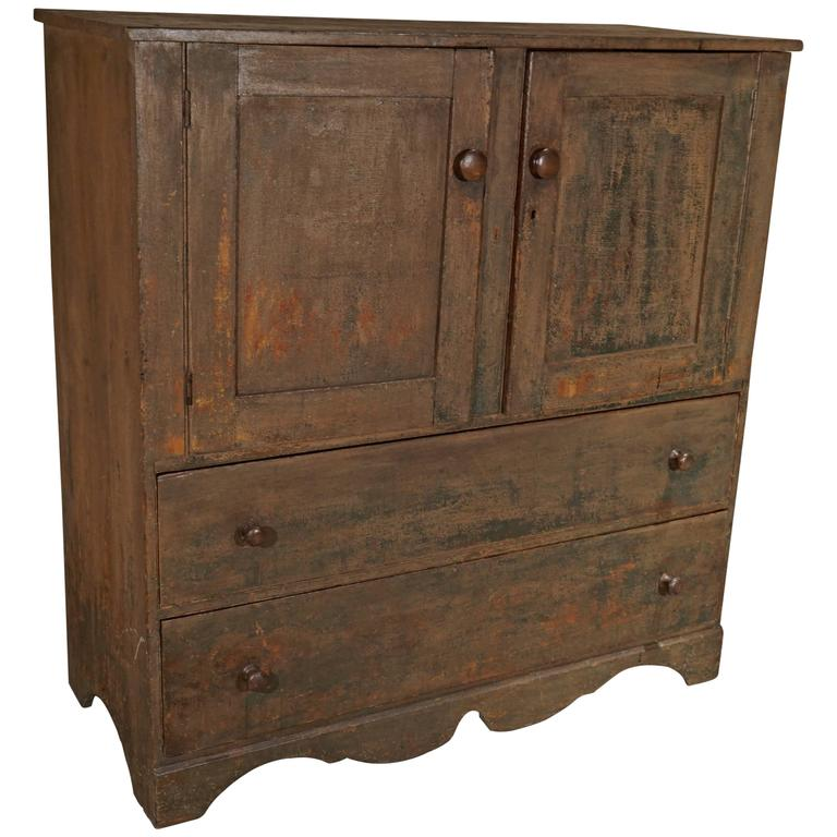 Superb 19th Century American Cupboard in Rustic Paint