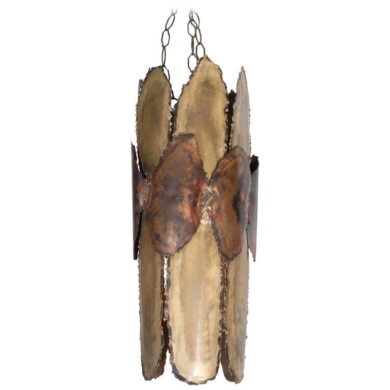 Midcentury Brutalist Torch-Cut Pendant For Sale