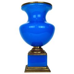 Blue Opaline and Brass Neoclassical Vase on Square Base