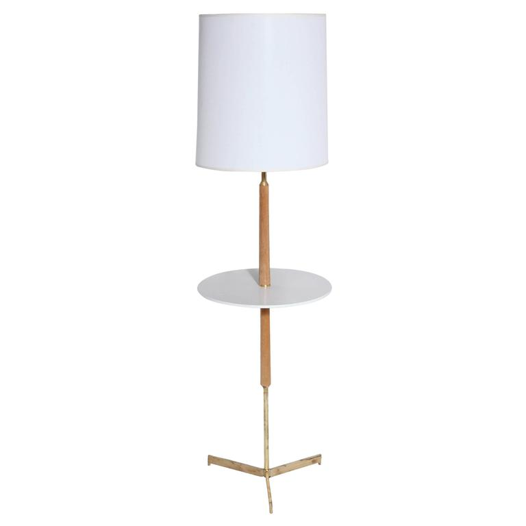 1950\'s Bleached Mahogany and Brass Floor Lamp with Off-White ...
