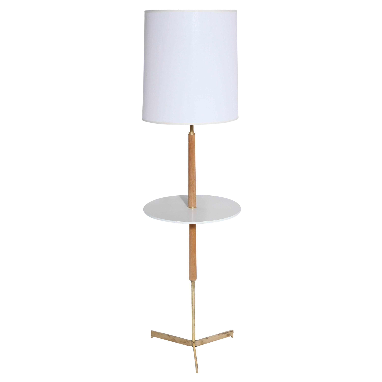 Paul McCobb Style Bleached Mahogany, Micarta & Brass Side Table Floor Lamp