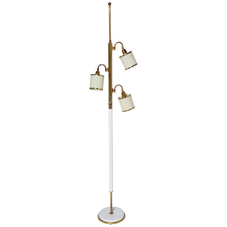 Stiffel brass and cream adjustable reading floor lamp with three stiffel brass and cream adjustable reading floor lamp with three shades 1950s for sale aloadofball Image collections