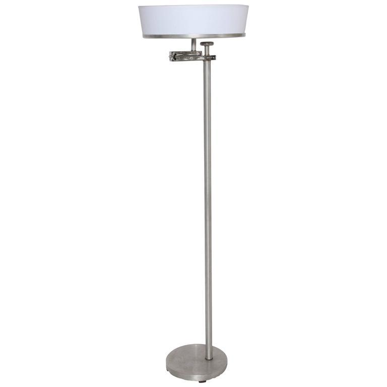 "Kurt Versen Brushed Aluminum ""Flip"" Top Floor Lamp, circa 1940"