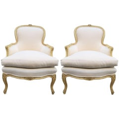 Pair of French Louis XV Style Bergere Chairs