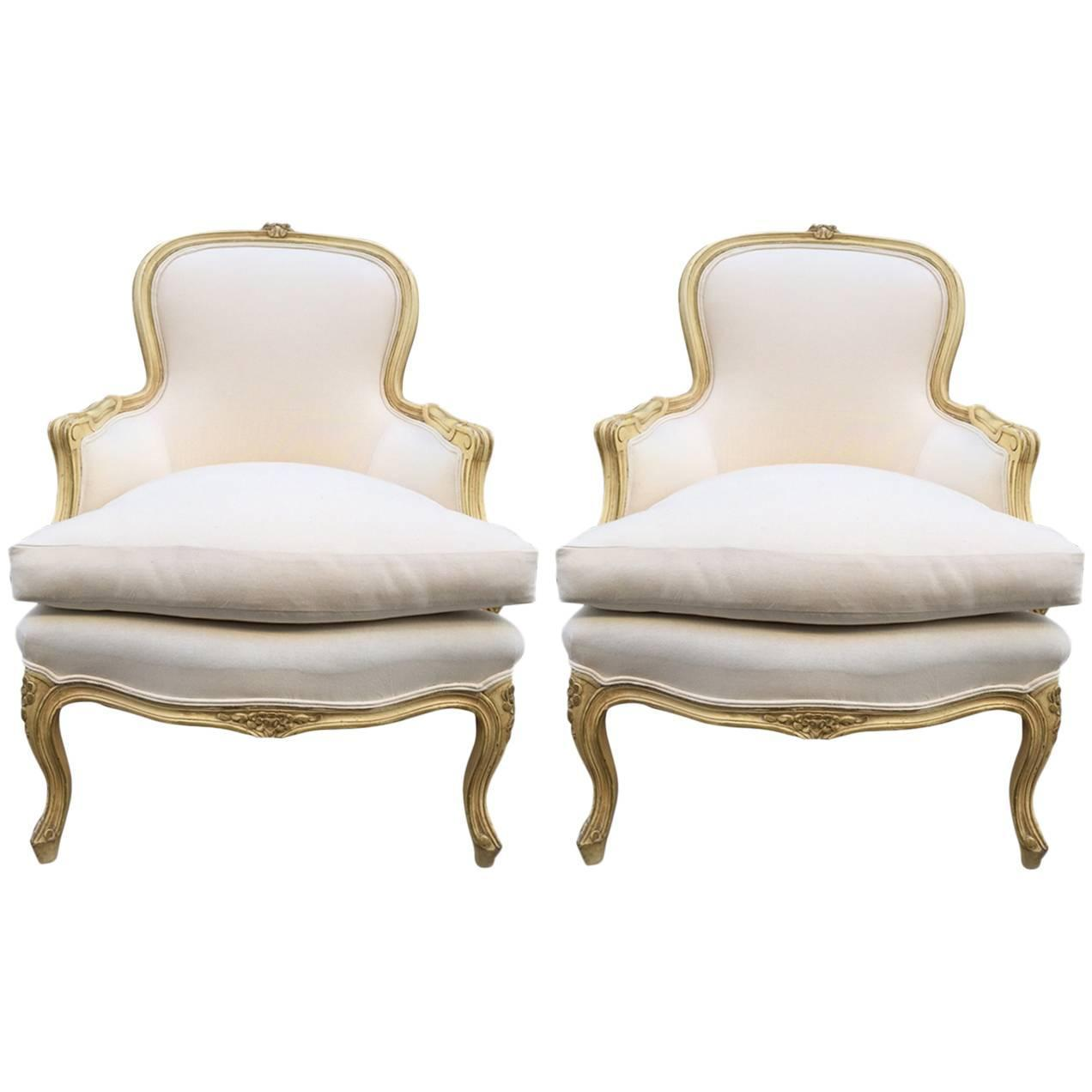 Pair of French Louis XV Style Bergere Chairs For Sale at 1stdibs