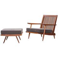 George Nakashima Lounge Chair with Ottoman  * NEW UPHOLSTERY *