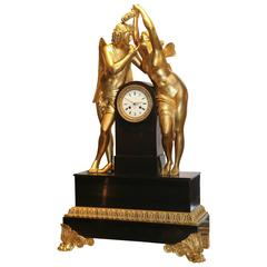 19th Century Bronze Doré and Marble Clock by Marti