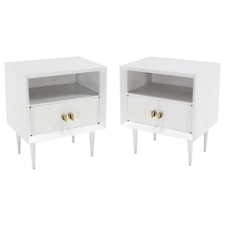 Pair Of White Lacquer End Tables Nightstands Heavy Square Brass Pulls For  Sale