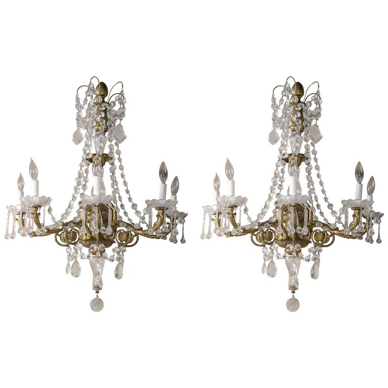 Pair of French Gilt Bronze and Crystal Sconces For Sale