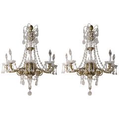 Pair of French Gilt Bronze and Crystal Sconces