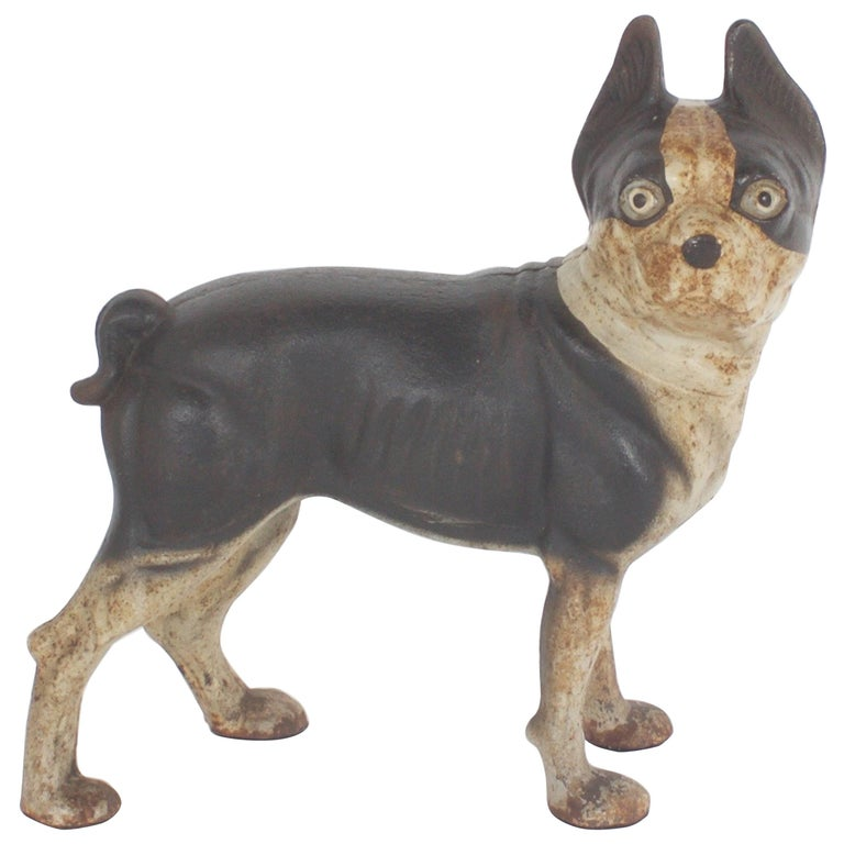 Vintage Cast Iron Doorstop of a Boston Terrier For Sale - Vintage Cast Iron Doorstop Of A Boston Terrier For Sale At 1stdibs