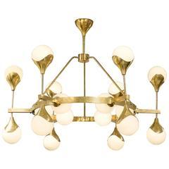 Murano Globe Glass and Textured Brass Chandelier