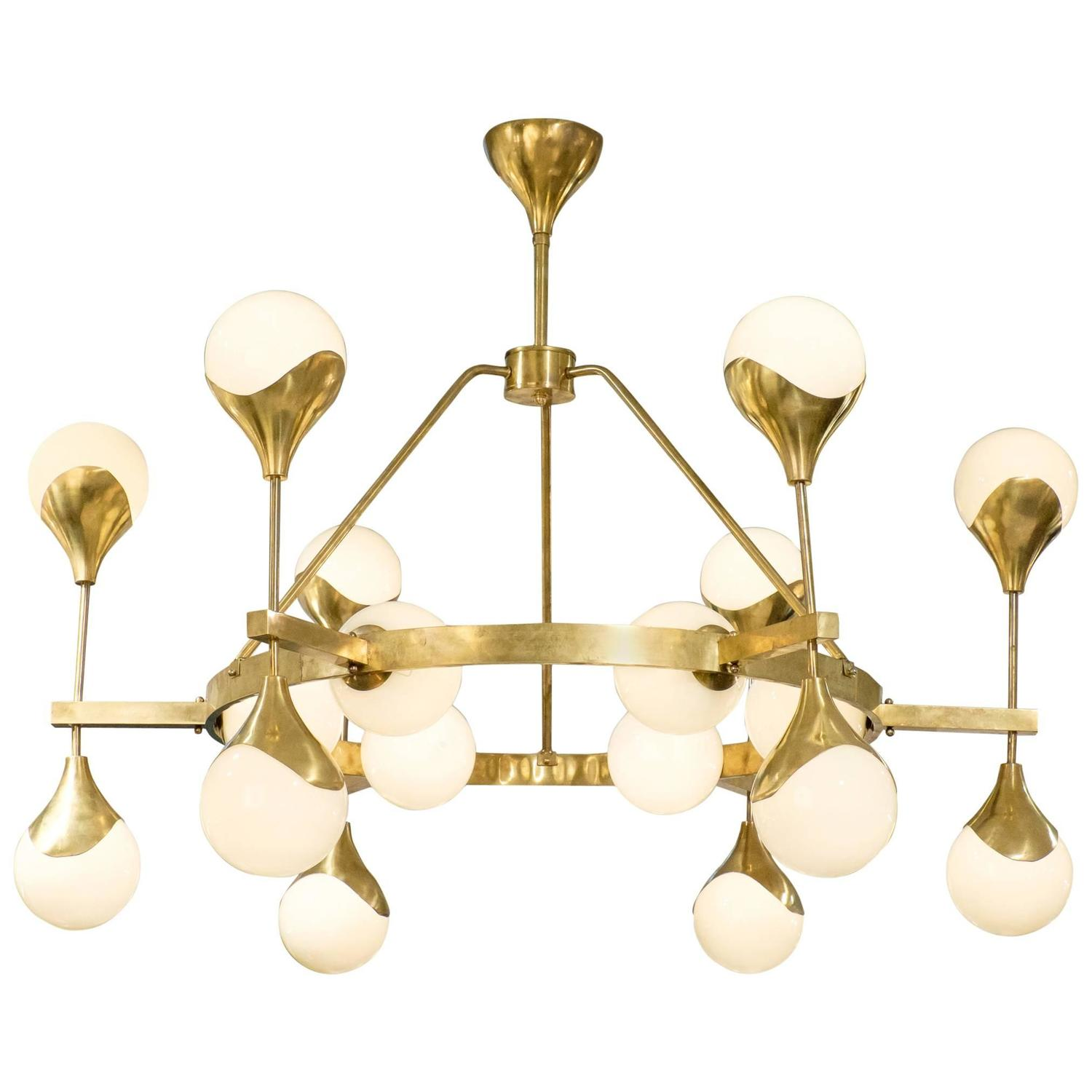 Murano Globe Glass And Textured Brass Chandelier For Sale