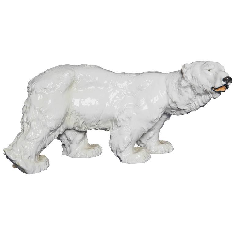 Large Art Deco Meissen Porcelain Sculpture Of A Polar Bear