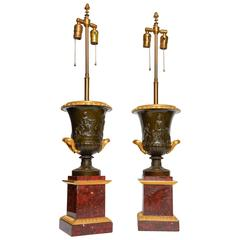 Fine Large Pair of Antique Neoclassical, Campagna Shaped Bronze Urns or Lamp