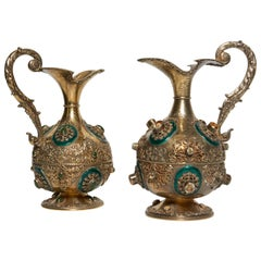 Fine Pair of Antique Austrian Enamel on Silver and Gold Jeweled Ewers