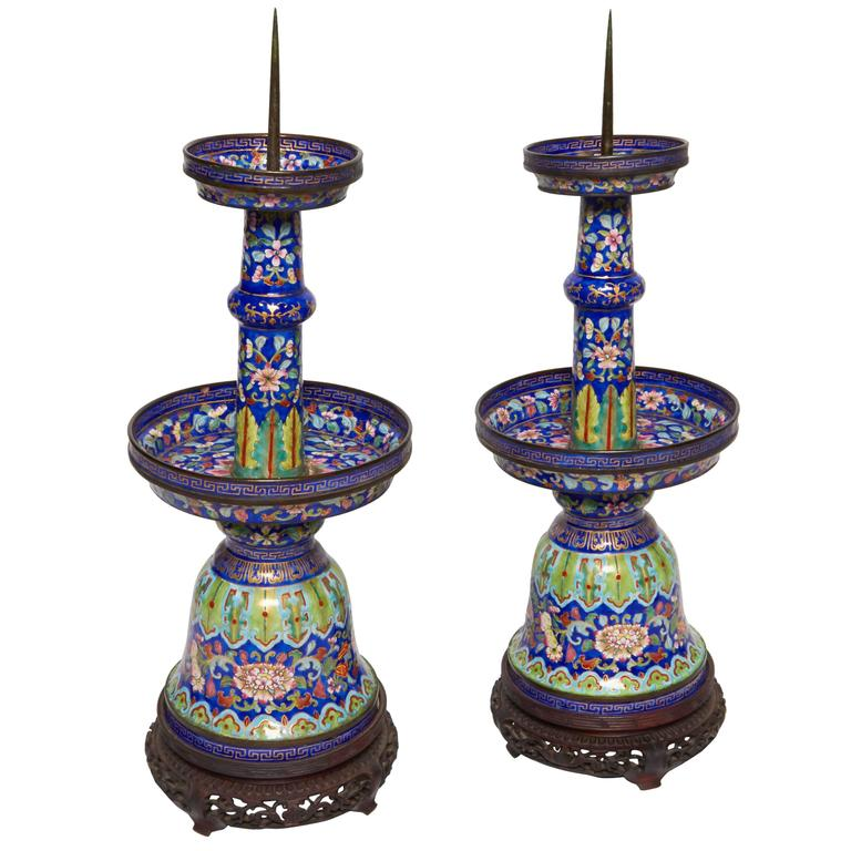 Exceptional Pair of Imperial Quality Qianlong Canton Enamel Candlesticks