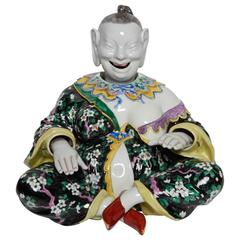 Chinoiserie German Porcelain Figure of a Nodder, Chinaman Seated Cross-Legged