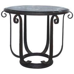 Wrought Iron Center Hall or Side Table with Verde Top