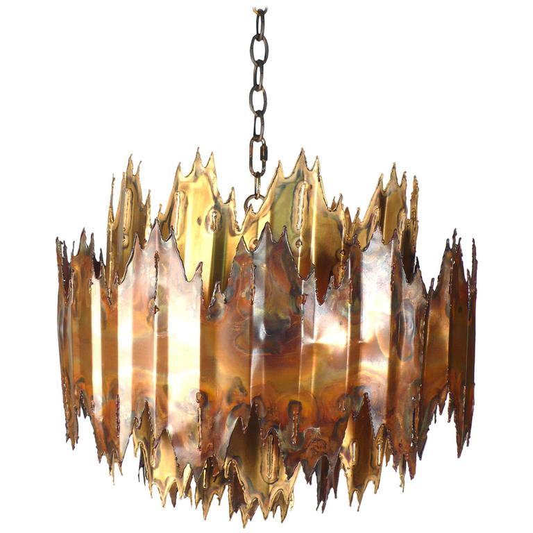 Brutalist Plasma Torch Cut Brass and Copper Chandelier