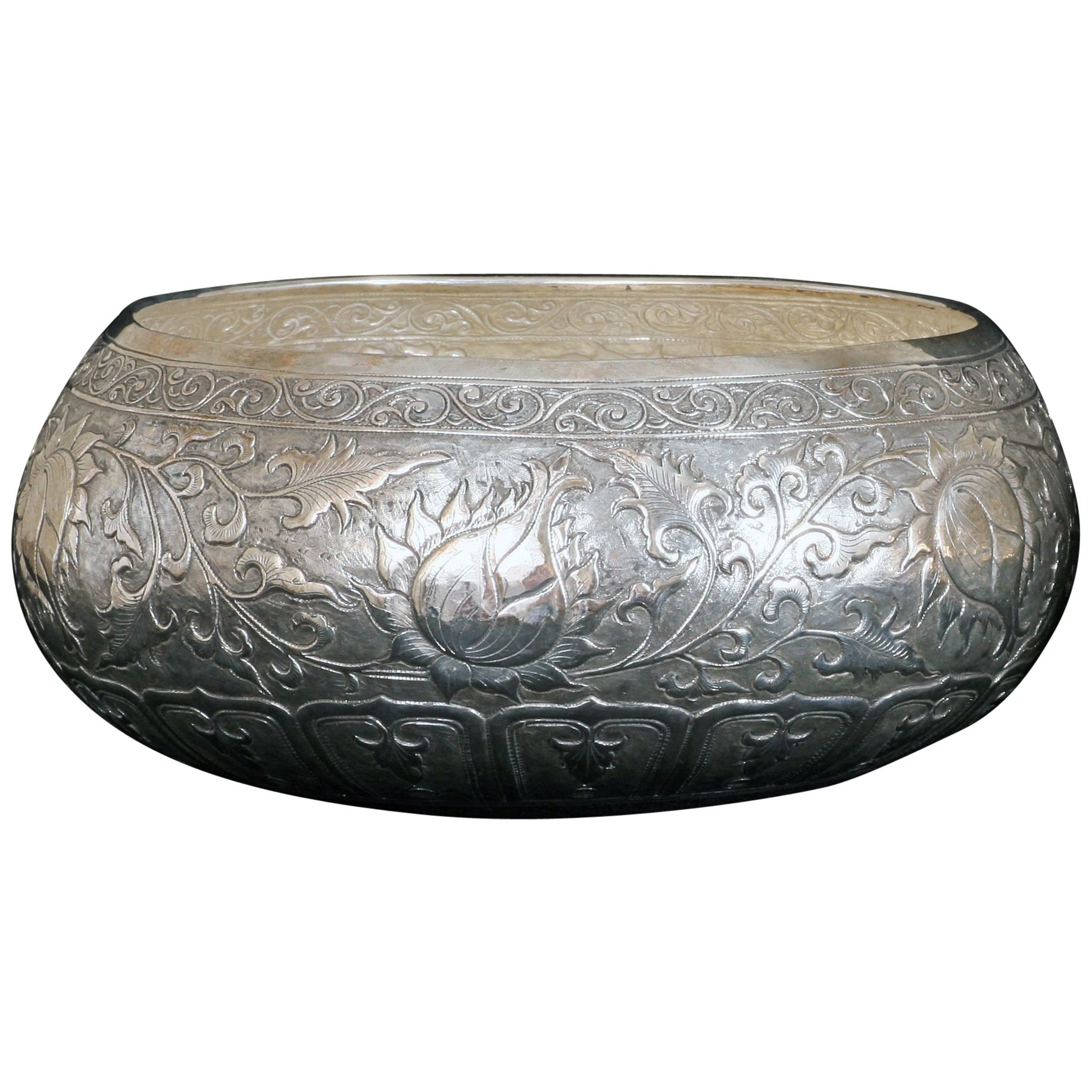 Contemporary Hand-Worked Solid Silver Bowl, Chinese Floral Motif, Centerpiece