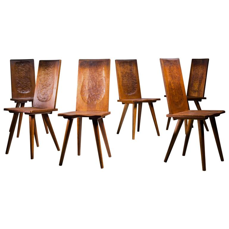 Jean Touret Set Of Six Oak Dining Chairs For Marolles